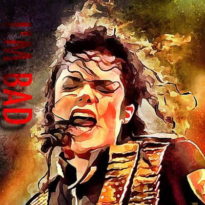 Concert Digital Art - Michael Jackson I'm Bad by Yury Malkov
