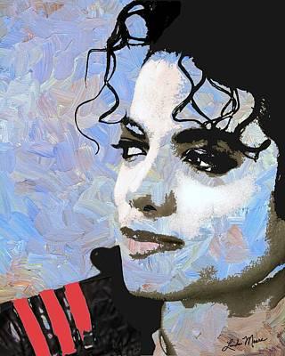 Singer Digital Art - Michael Jackson Blue And White by Linda Mears