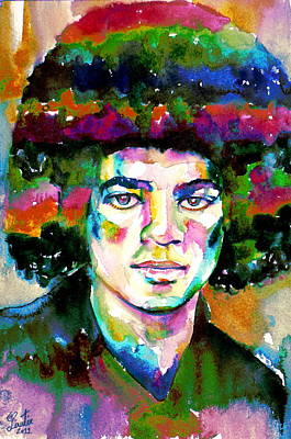 Michael Jackson - Watercolor Portrait.11 Art Print by Fabrizio Cassetta