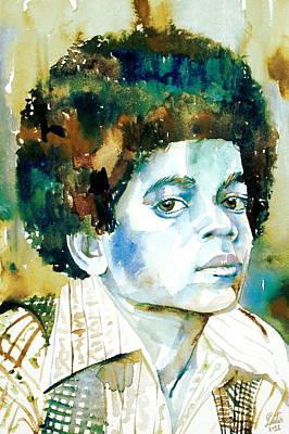 Michael Jackson Painting - Michael Jackson - Watercolor Portrait.12 by Fabrizio Cassetta