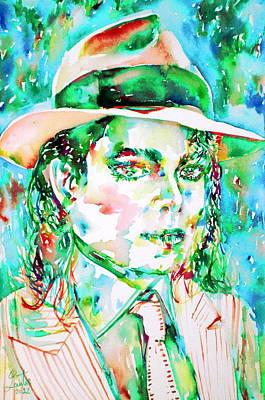 Michael Jackson Painting - Michael Jackson - Watercolor Portrait.15 by Fabrizio Cassetta