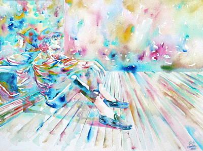 Michael Jackson - Watercolor Portrait.8 Art Print by Fabrizio Cassetta