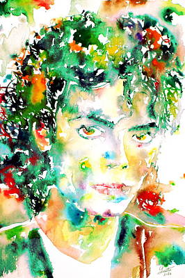 Michael Jackson Painting - Michael Jackson - Watercolor Portrait.4 by Fabrizio Cassetta