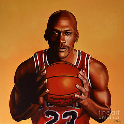 Portrait Painting - Michael Jordan 2 by Paul Meijering