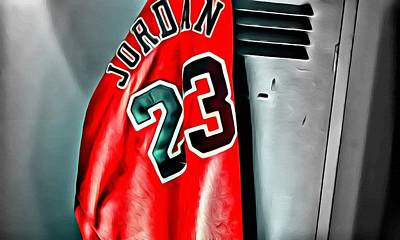 Basketball Painting - Michael Jordan 23 Shirt by Florian Rodarte