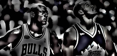 Michael Jordan And Carl Malone Art Print by Brian Reaves