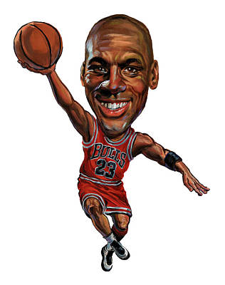 Basketball Players Painting - Michael Jordan by Art
