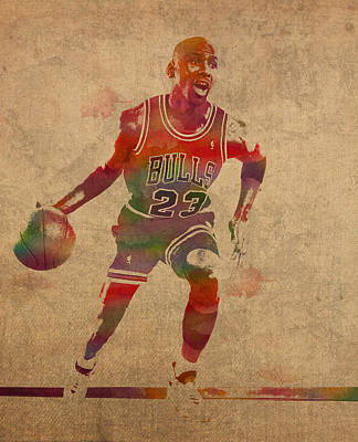 Michael Jordan Chicago Bulls Vintage Basketball Player Watercolor Portrait On Worn Distressed Canvas Art Print by Design Turnpike
