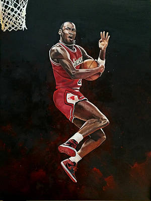 Michael Jordan Cradle Dunk Print by Michael  Pattison