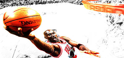 Digital Art - Michael Jordan Lift Off by Brian Reaves