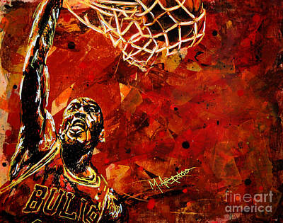 Sports Star Painting - Michael Jordan by Maria Arango
