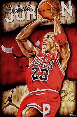 Jordan Painting - Michael Jordan Oil Painting by Dan Troyer