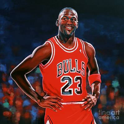 Red Painting - Michael Jordan by Paul Meijering