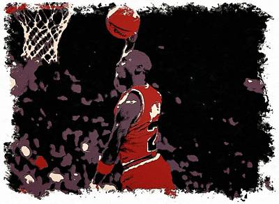 Mj Painting - Michael Jordan Poster Art Dunk by Florian Rodarte