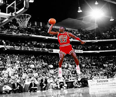 Mj Digital Art - Michael Jordan Slam Dunk Contest by Brian Reaves