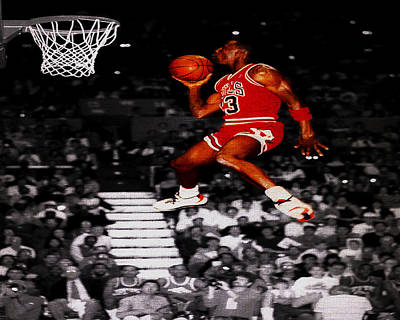 Michael Jordan Suspended In Mid Air Art Print