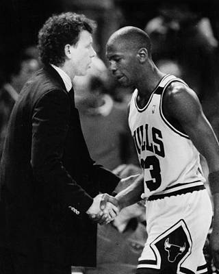 Air Jordan Photograph - Michael Jordan Talks With Coach by Retro Images Archive