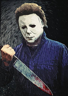 Lowbrow Digital Art - Michael Myers  by Taylan Apukovska