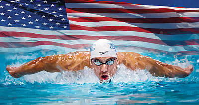 Swimmers Painting - Michael Phelps Artwork by Sheraz A
