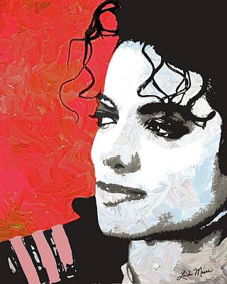 Singer Digital Art - Michael Red And White by Linda Mears