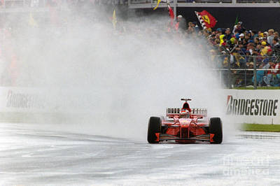 Michael Schumacher Rainmaster Art Print by Gary Doak