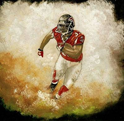 Atlanta Falcons Painting - Michael Turner Atlanta Falcons by Jerry Bates