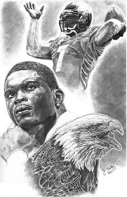 Michael Vick Drawing - Michael Vick by Jonathan Tooley