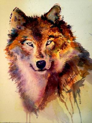 Painting - Michael's Wolf by J Worthington Watercolors