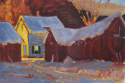 Red Barn In Winter Painting - Michalski Farm 2 by Len Stomski