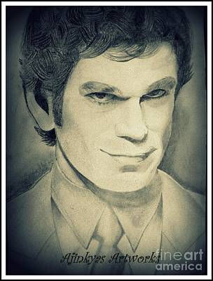 Dexter Drawing - Michel C. Hall Aka Dexter Morgan by Ajinkya Khot