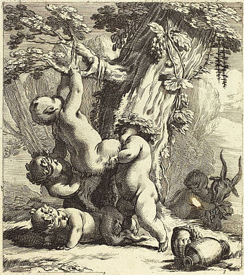 Michel Dorigny French, Putti And Fauns Climbing A Grapevine Art Print