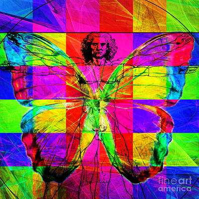 Photograph - Leonardo Da Vinci Butterfly Man Dsc2969 V1 Square by Wingsdomain Art and Photography