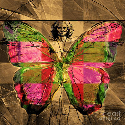 Michelangelo Digital Art - Leonardo Da Vinci Butterfly Man Dsc2969 V2 Square by Wingsdomain Art and Photography