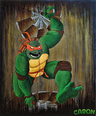 Teenage Mutant Ninja Turtles Painting - Michelangelo by Mike Caron