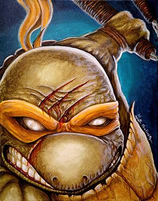 Teenage Mutant Ninja Turtles Painting - Michelangelo Unleashed by Al  Molina