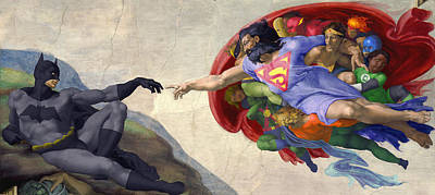Michelangelos Creation Of Batman  Art Print by Isaac Bluefoot