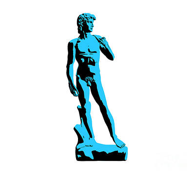 Michelangelo Sculpture - Michelangelos David - Stencil Style by Pixel Chimp