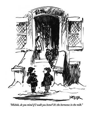 Winter Drawing - Michele, Do You Mind If I Walk You Home?  It's by Robert Weber