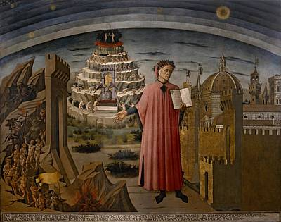 Purgatory Painting - Michelinos Fresco Dante Holding The Divine Comedy by Movie Poster Prints