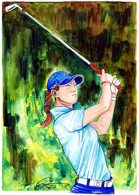 Stanford Drawing - Michelle Wie by Dave Olsen