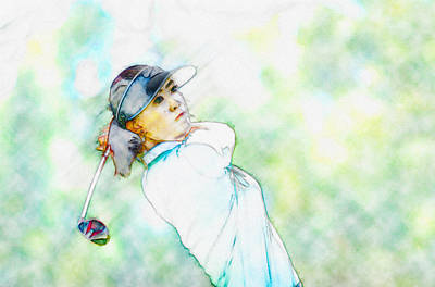 Ernie Els Wall Art - Digital Art - Michelle Wie Hits Her Tee Shot On The Sixth Hole by Don Kuing