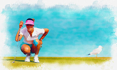 Ernie Els Wall Art - Digital Art - Michelle Wie Lines Up A Putt On The Eighth Green by Don Kuing