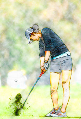 Ernie Els Wall Art - Digital Art - Michelle Wie - 2014  Kraft Nabisco Championship by Don Kuing