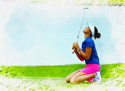 Ernie Els Wall Art - Digital Art - Michelle Wie Of The United States Reacts After Missed Off To A B by Don Kuing