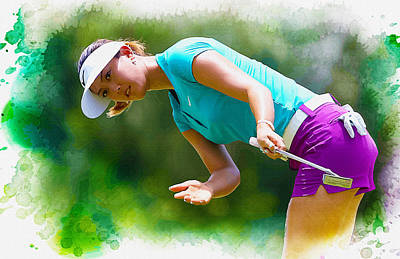 Ernie Els Wall Art - Digital Art - Michelle Wie Of The United States Reacts To A Putt  by Don Kuing