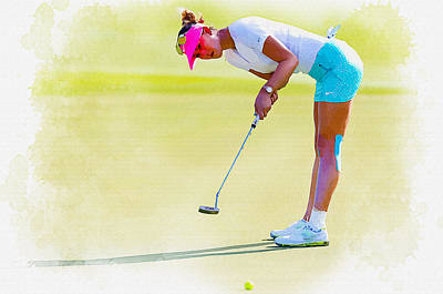 Ernie Els Wall Art - Digital Art - Michelle Wie Putts The Ball On The Fourth Green by Don Kuing