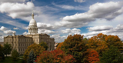 Photograph - Michgan Capitol - Autumn by Larry Carr