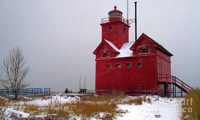 Photograph - Michigan Big Red Lighthouse by Gregory Dyer