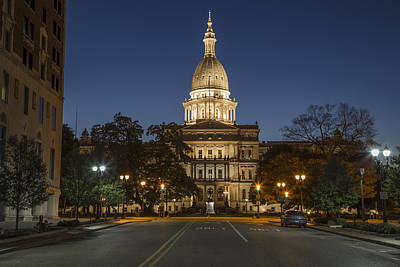 Photograph - Michigan Capitol At Blue Hour by John McGraw