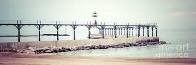 Indiana Photograph - Michigan City Lighthouse Retro Panorama Photo by Paul Velgos